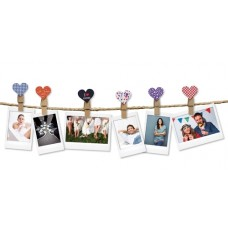Fuji Instax design clips HEART wooden clothespins