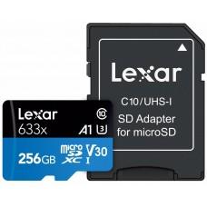 Lexar Micro SD 256 GB 633 x 95 MB/S m/sd adapter - MicroSD